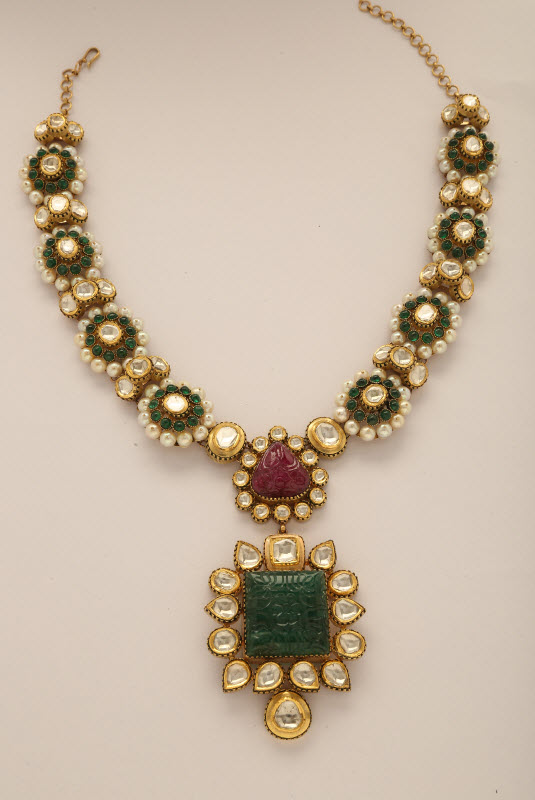 diamonds boutiquedesignerjewellery emerald necklace com uncut diamond